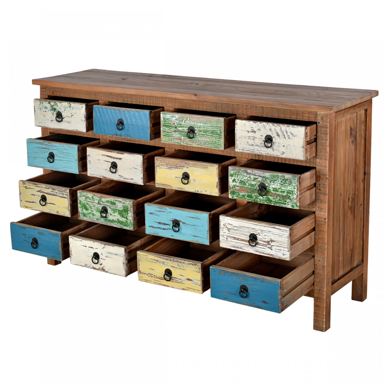 buffet 16 tiroirs bois recycl koya design. Black Bedroom Furniture Sets. Home Design Ideas