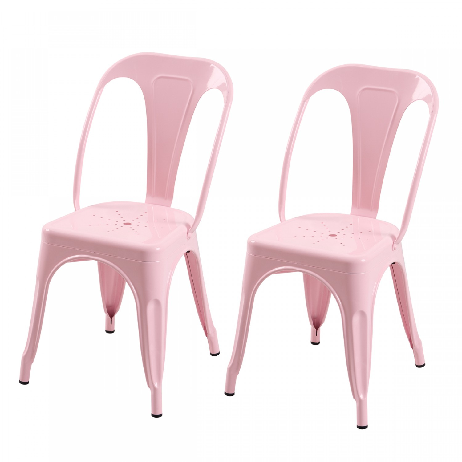 Chaise en m tal atelier rose brillant lot de 2 koya design for Acheter chaise