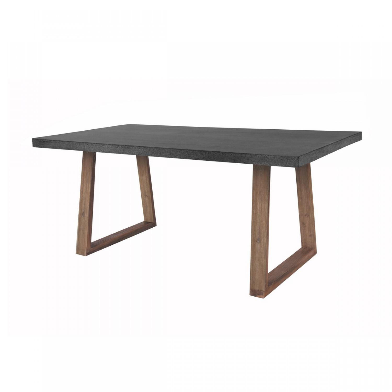 Table rectangulaire r sine et bois 180 cm koya design - Table en pierre de lave ...