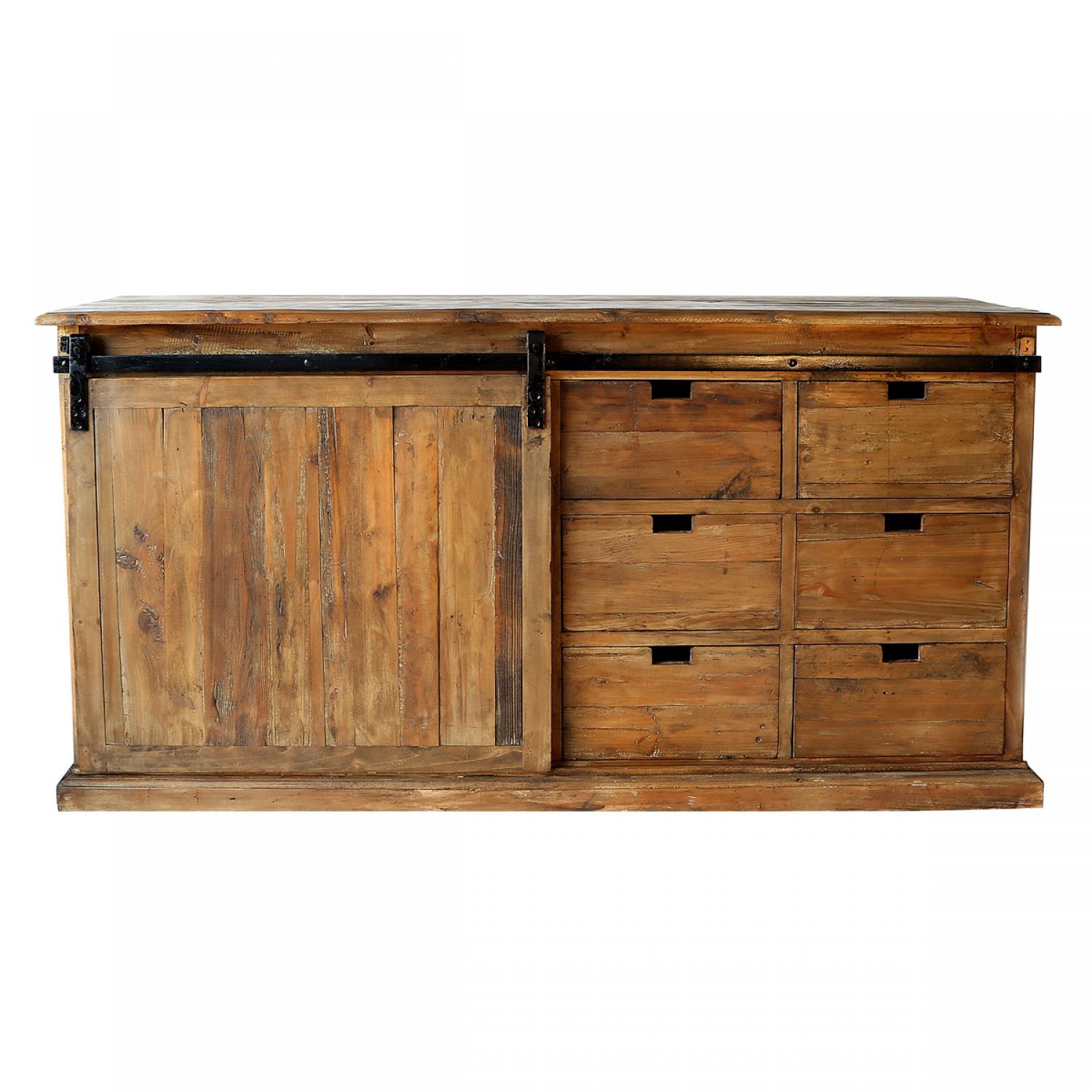 buffet 6 tiroirs porte coulissante en bois recycl koya design. Black Bedroom Furniture Sets. Home Design Ideas