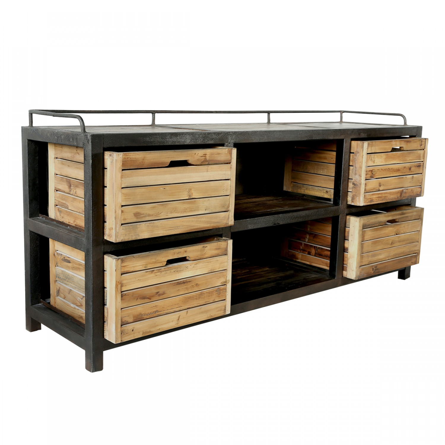 buffet 4 tiroirs en bois recycl et m tal koya design. Black Bedroom Furniture Sets. Home Design Ideas