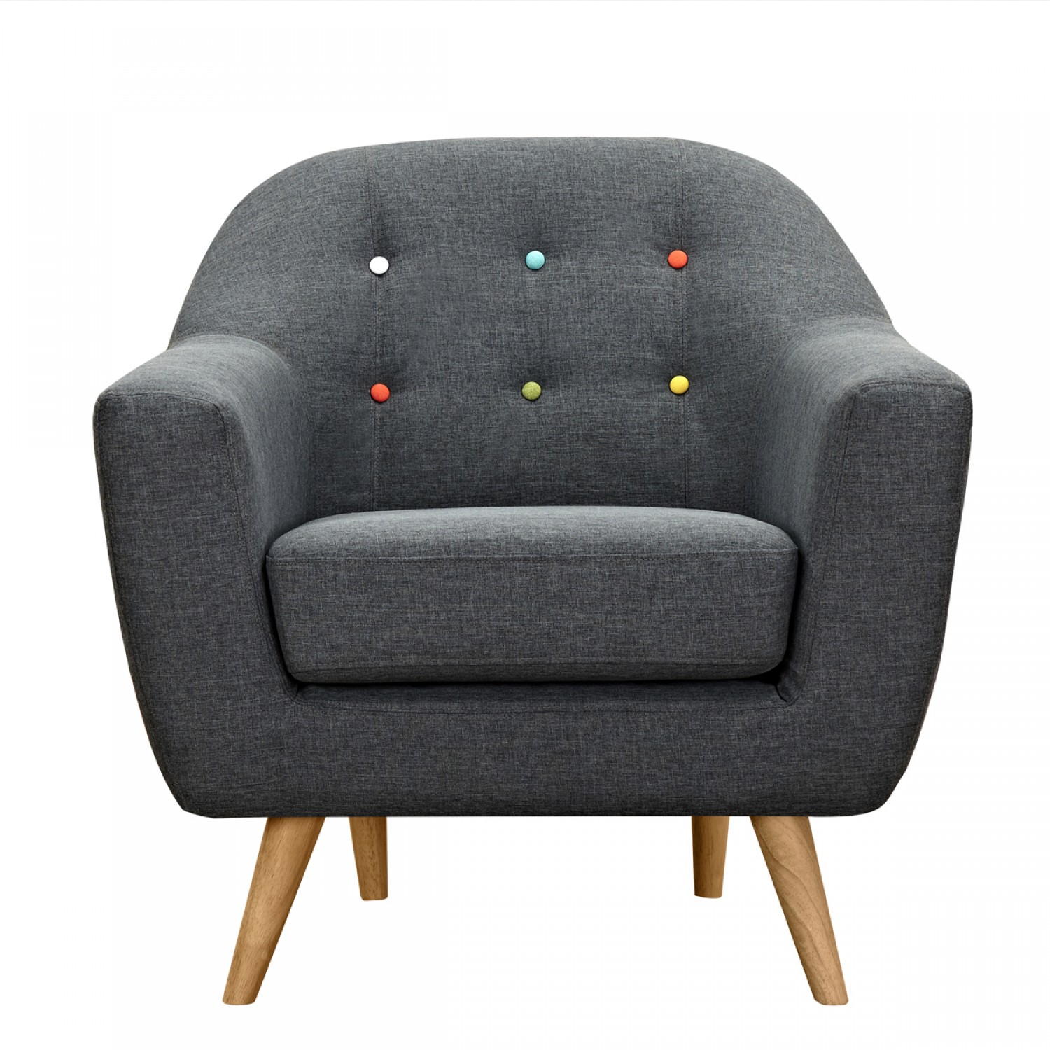 fauteuil vejen gris fonc boutons multicolores koya design. Black Bedroom Furniture Sets. Home Design Ideas