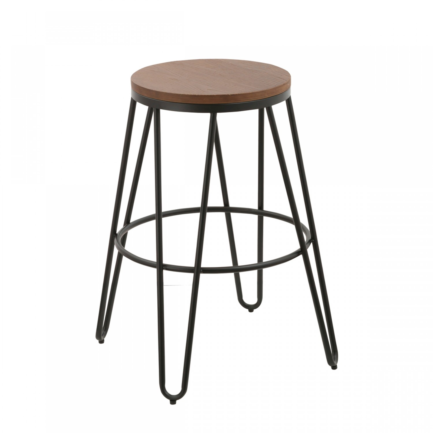 tabouret de bar loft bois et m tal noir lot de 2 koya. Black Bedroom Furniture Sets. Home Design Ideas