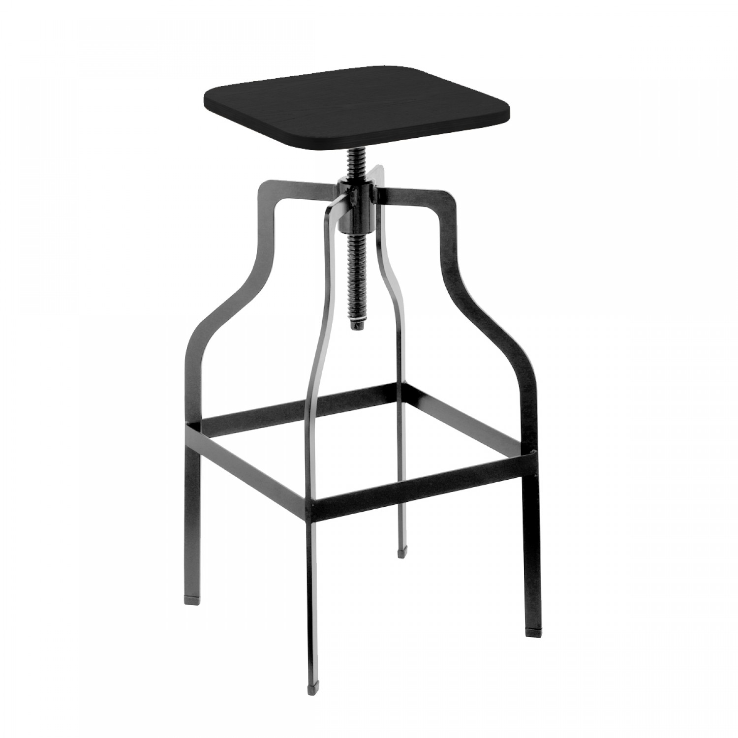 tabouret de bar vintage carr bois et m tal koya design. Black Bedroom Furniture Sets. Home Design Ideas