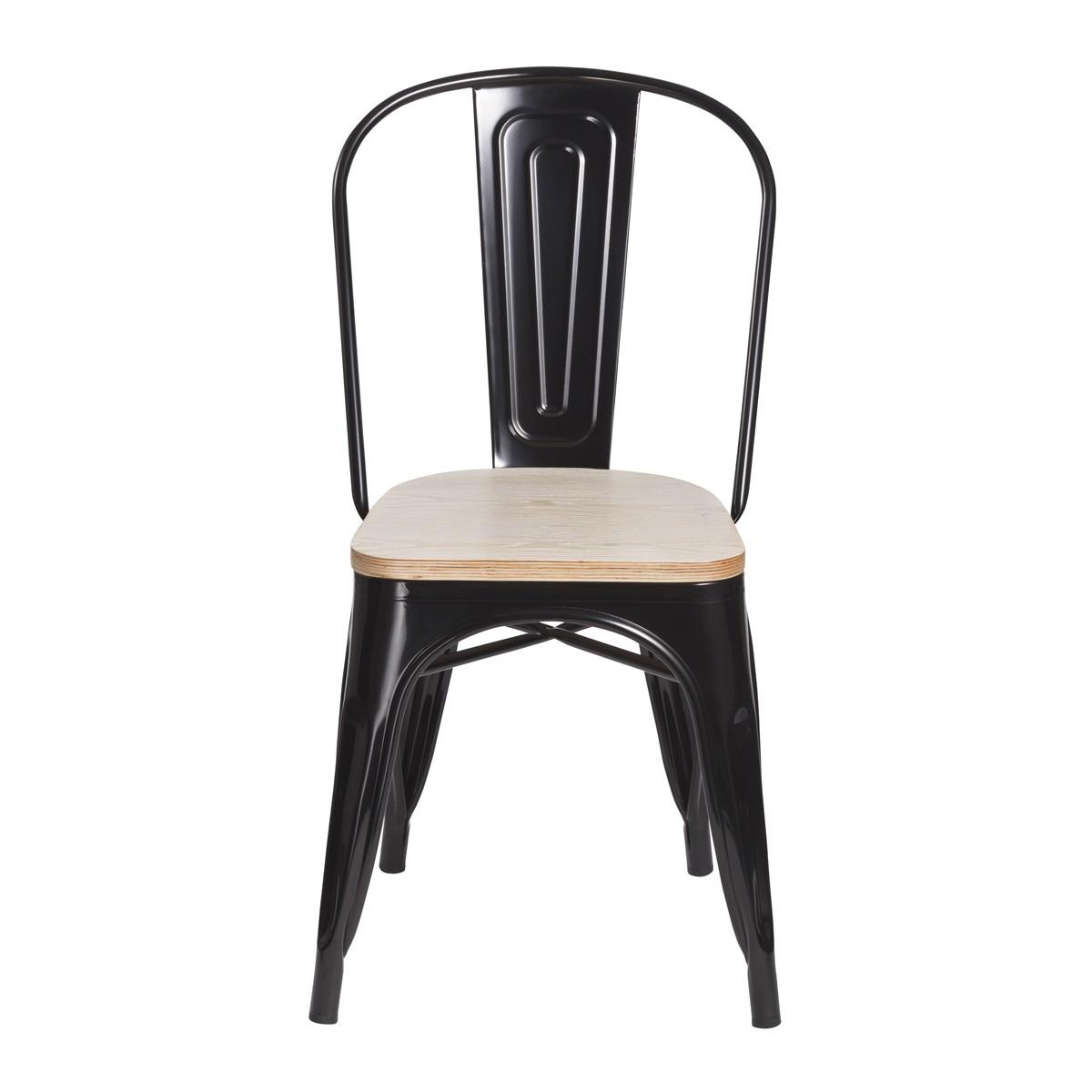 Chaise factory noire et bois lot de 2 koya design - Chaise noire et bois ...