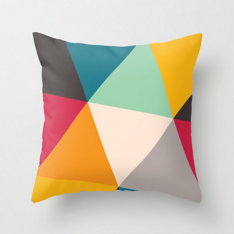 coussin graphique multicolore