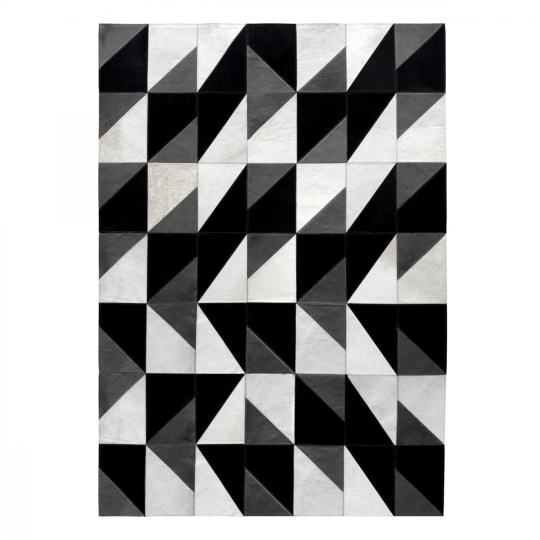 Tapis cuir patchwork noir, gris et blanc 160x230 cm