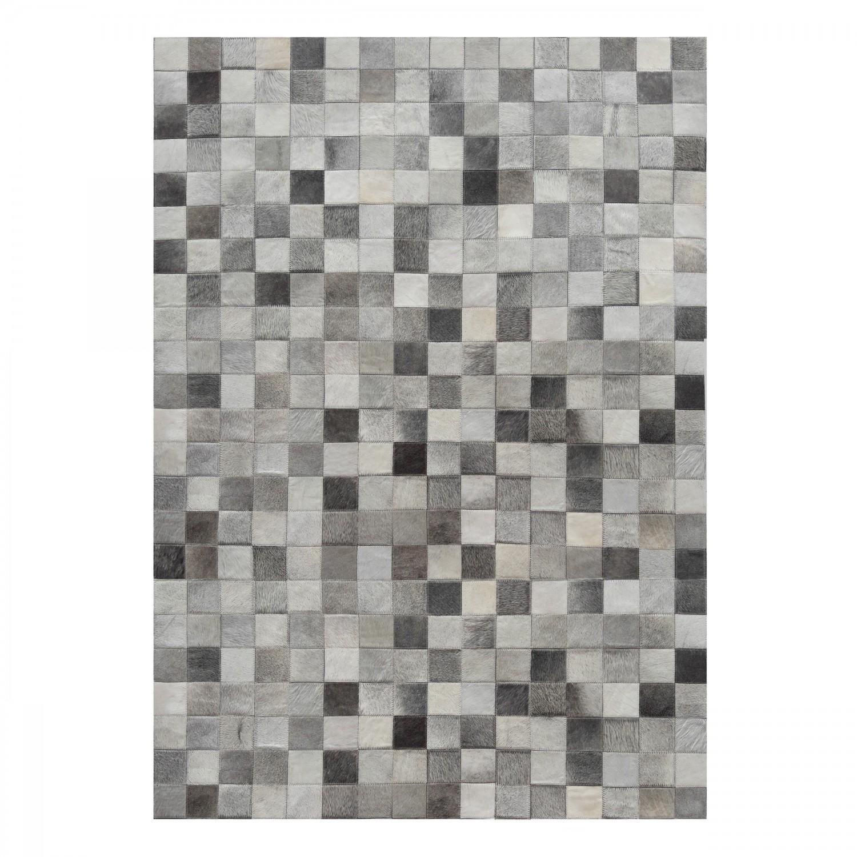 Tapis en cuir patchwork gris 140x200 cm koya design - Tapis cuir patchwork ...