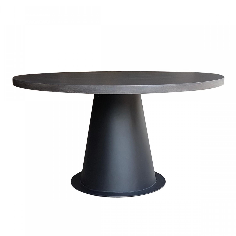 table ronde design lavastone et m tal 140 cm koya design. Black Bedroom Furniture Sets. Home Design Ideas