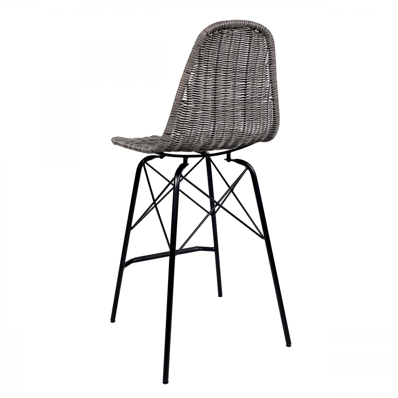 Chaise de bar Madagascar en résine tressée grise (lot de 2)