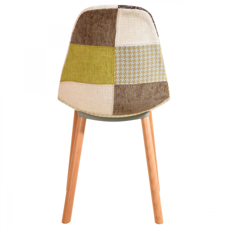 Chaise nordik patchwork jaune lot de 2 chaises - Tabouret de cuisine design jaune ...
