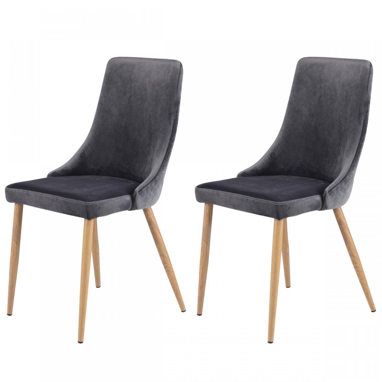 chaise oscar en velours gris lot de 2 koya design. Black Bedroom Furniture Sets. Home Design Ideas
