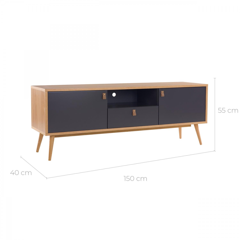 Meuble TV Laurens multi-rangements en bois