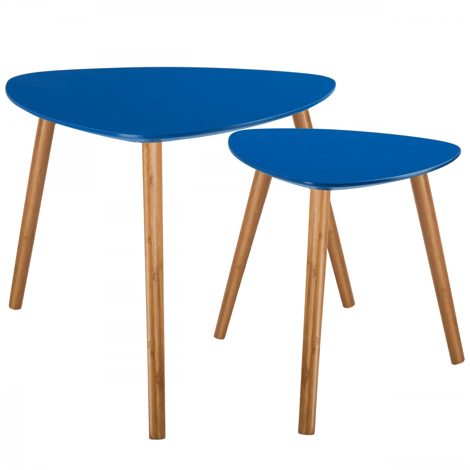 tables basses gigognes en bois bleu fonc lot de 2. Black Bedroom Furniture Sets. Home Design Ideas