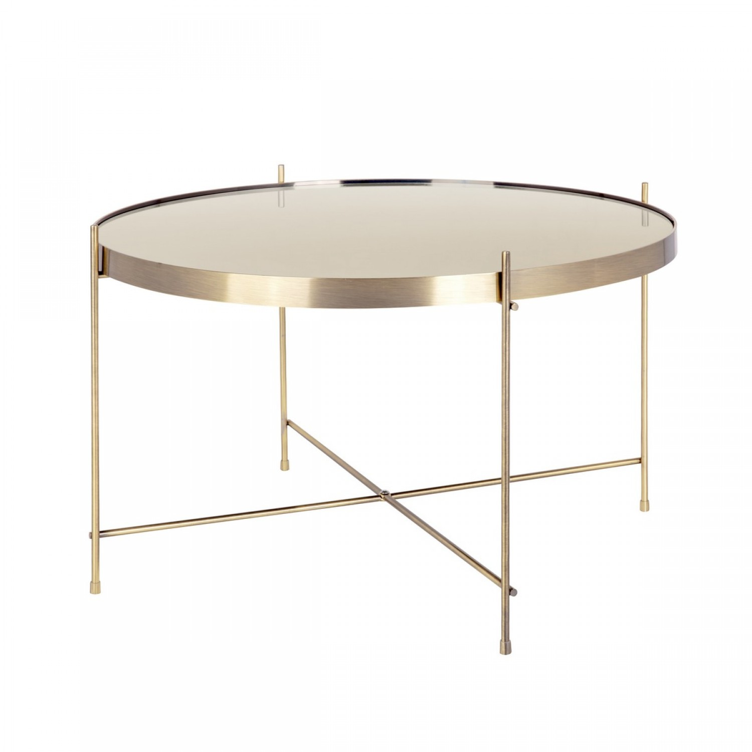 Table basse miroir laiton 64 cm koya design for Table basse miroir