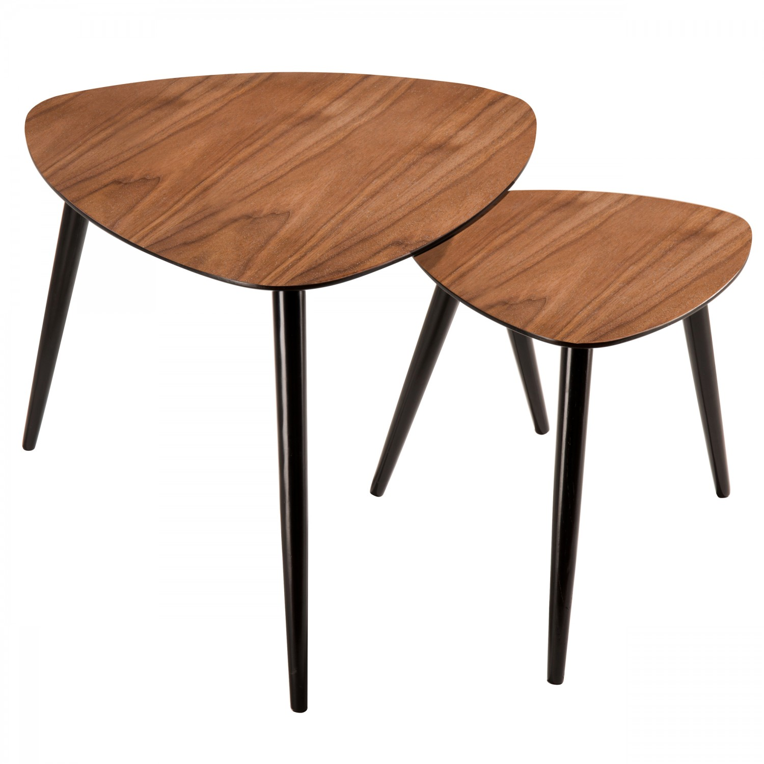 Tables basses gigognes en bois fonc lot de 2 koya design for 2 tables basses gigognes