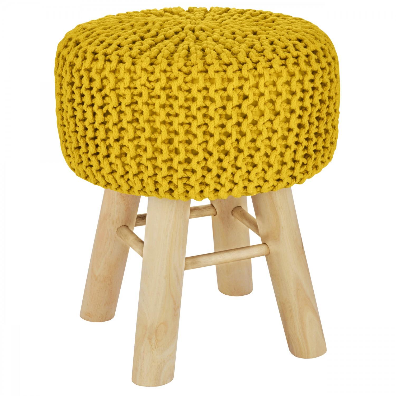 Tabouret tricot Jean jaune