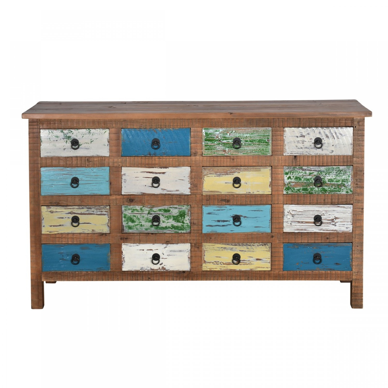 Buffet Pori 16 tiroirs bois recyclé
