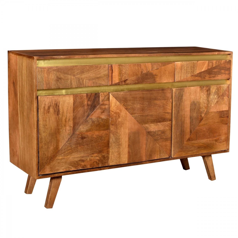 Buffet Piyali  en bois trois portes trois tiroirs