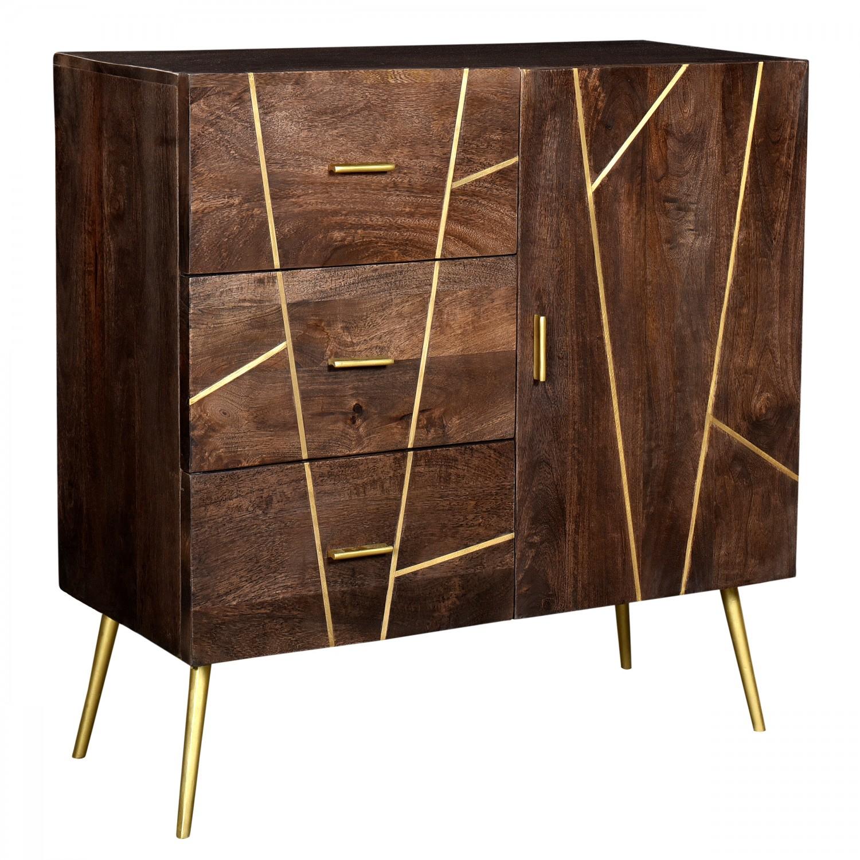 Buffet Sanobar en bois 1 porte 3 tiroirs