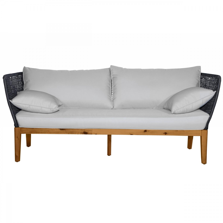 Canapé Comsort 3 places en corde tissée gris foncé avec coussins pieds en acacia