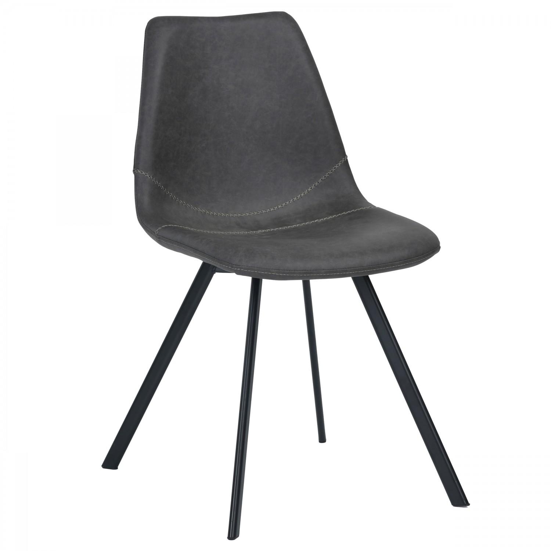 Chaise vintage en simili cuir noir vieilli lot de 2 - Chaise cuir noir salle manger ...
