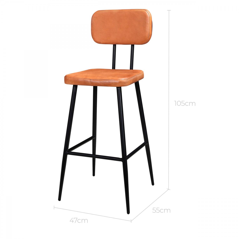 Chaise de bar Gotra en cuir et métal