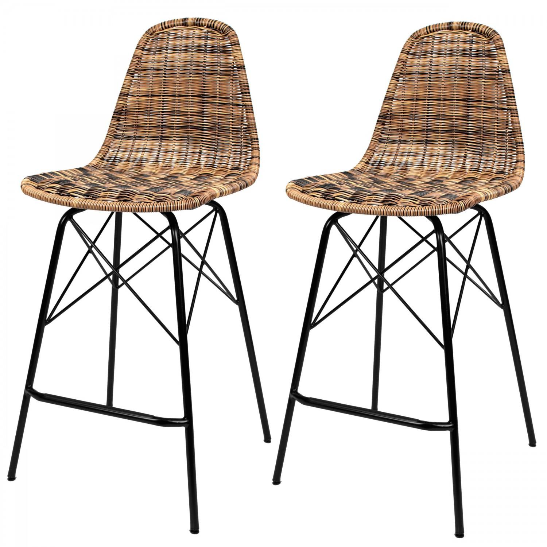 Chaise de bar Madagascar en résine tressée marron (lot de 2)