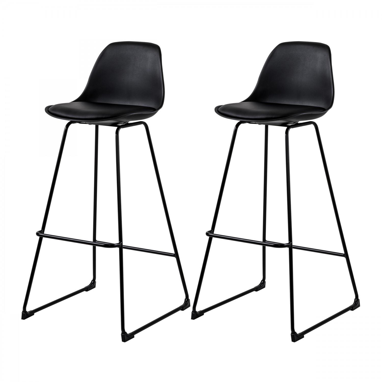 Chaise de bar Anunay noire pieds traineau (lot de 2)