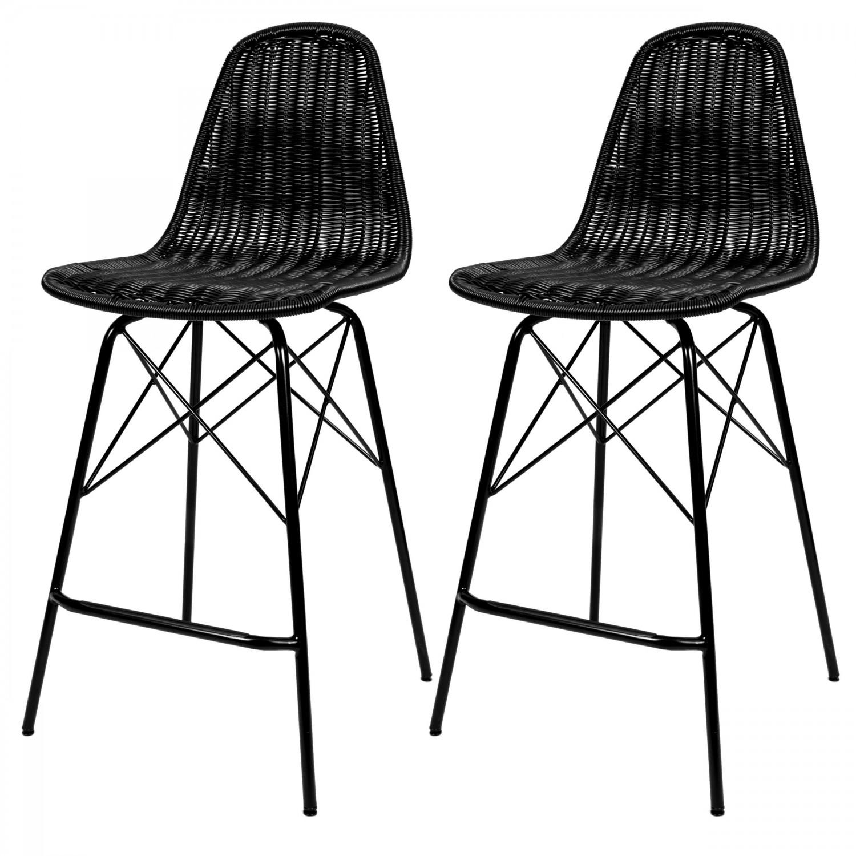 Chaise de bar Madagascar en résine tressée noire (lot de 2)
