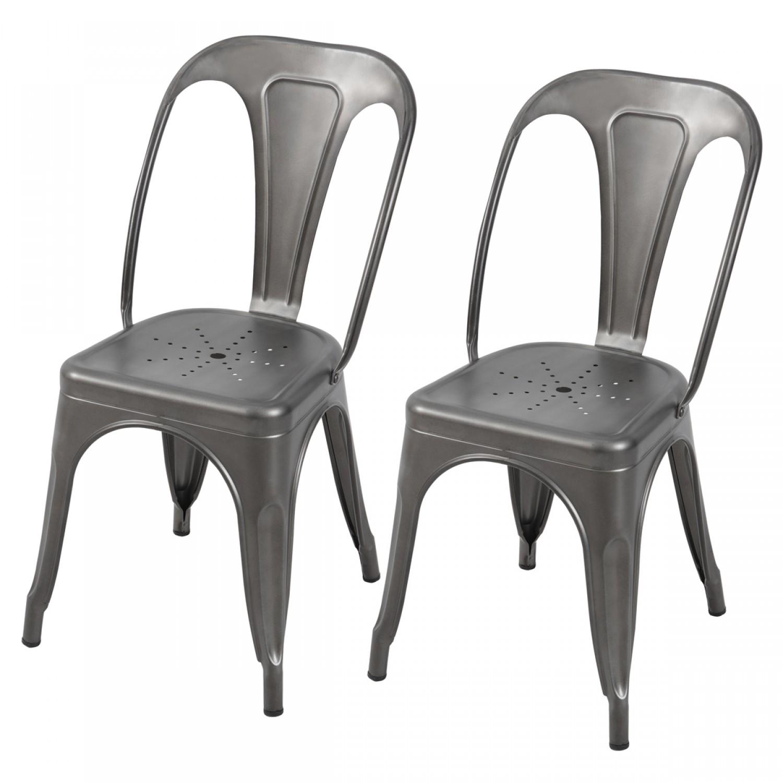 chaises acier affordable chaise en acier et assise peau de vache with chaises acier. Black Bedroom Furniture Sets. Home Design Ideas