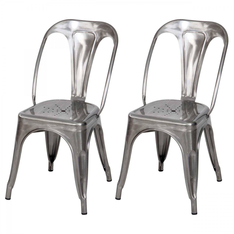 Chaise en métal Atelier gris chromé (lot de 2)