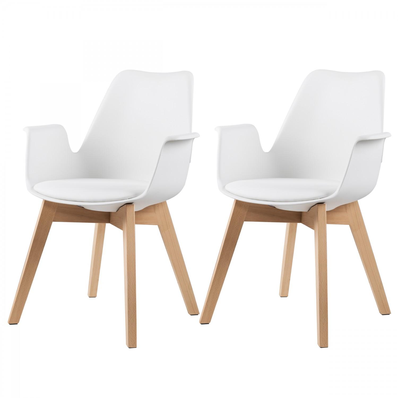 Chaise nordique blanche avec accoudoir lot de 2 chaises tabourets salle manger - Chaise salle a manger avec accoudoir ...