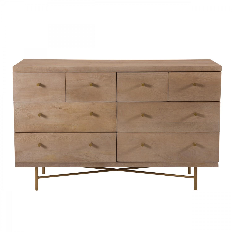 Commode betty en bois de manguier 8 tiroirs et pieds en métal