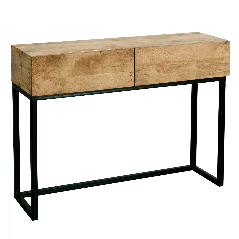 Console 2 tiroirs en bois et métal