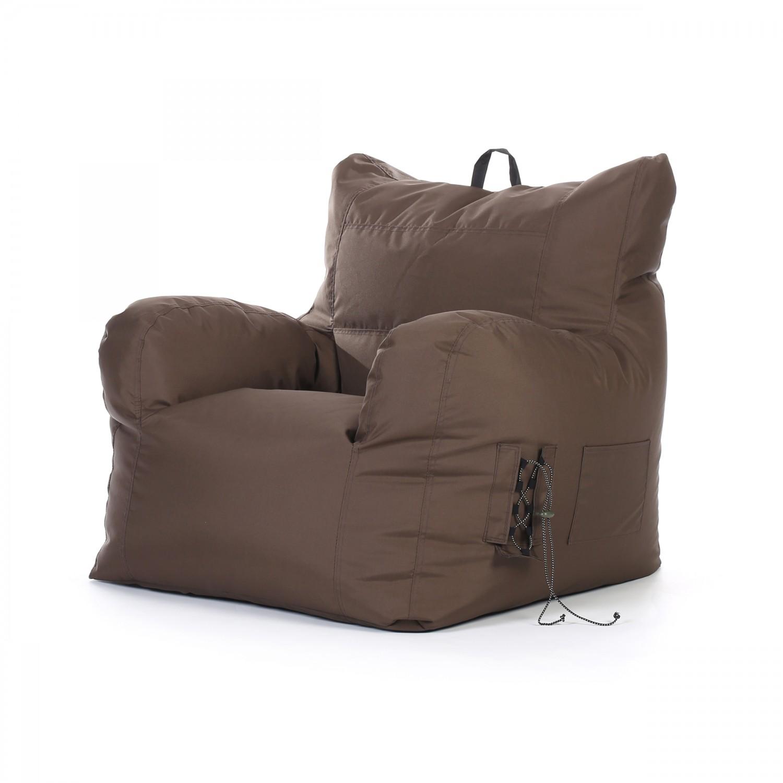 acheter fauteuil pouf marron_1