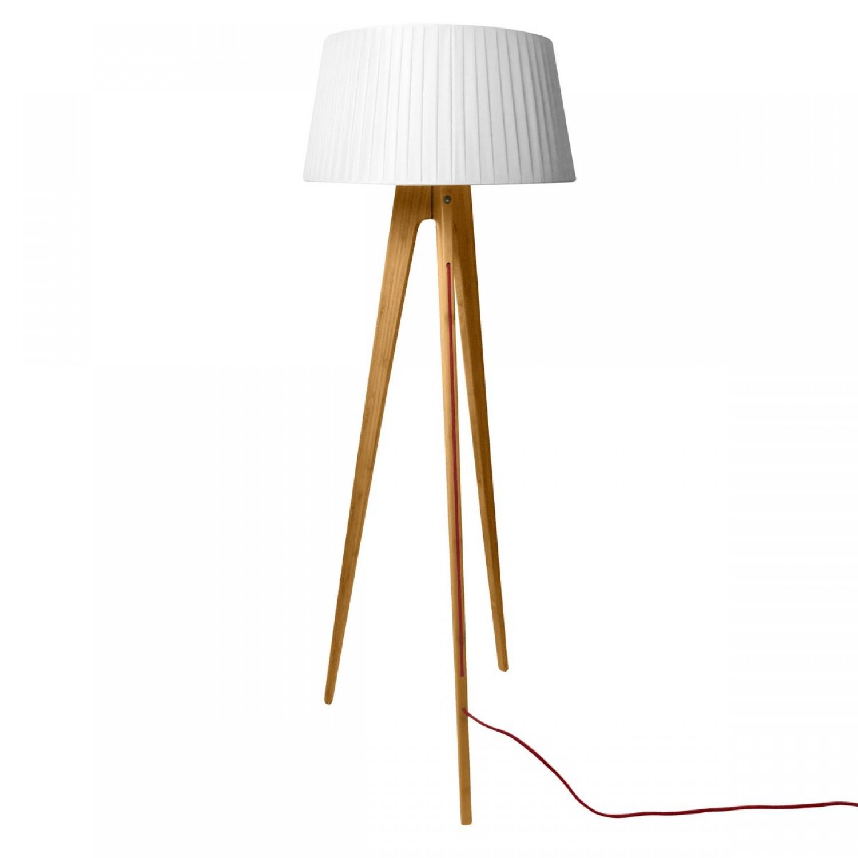lampadaire gemesi abat jour pliss bois clair koya design. Black Bedroom Furniture Sets. Home Design Ideas