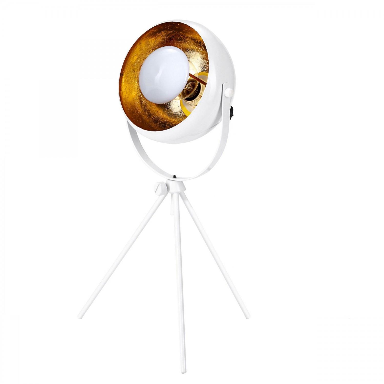 Lampe Projecteur blanc et or H.34 cm