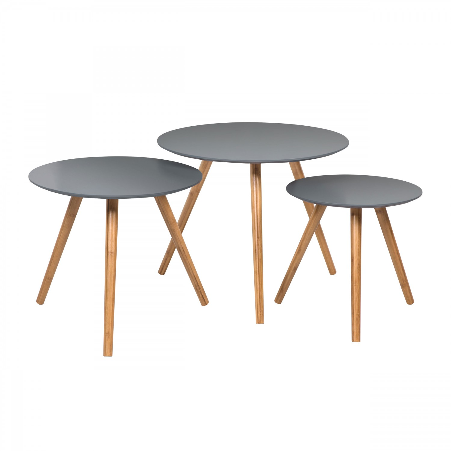 table basse ronde jacques grise lot de 3 koya design. Black Bedroom Furniture Sets. Home Design Ideas