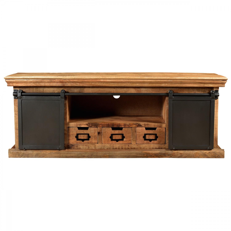 Meuble Rujula TV trois tiroirs en bois deux portes en métal
