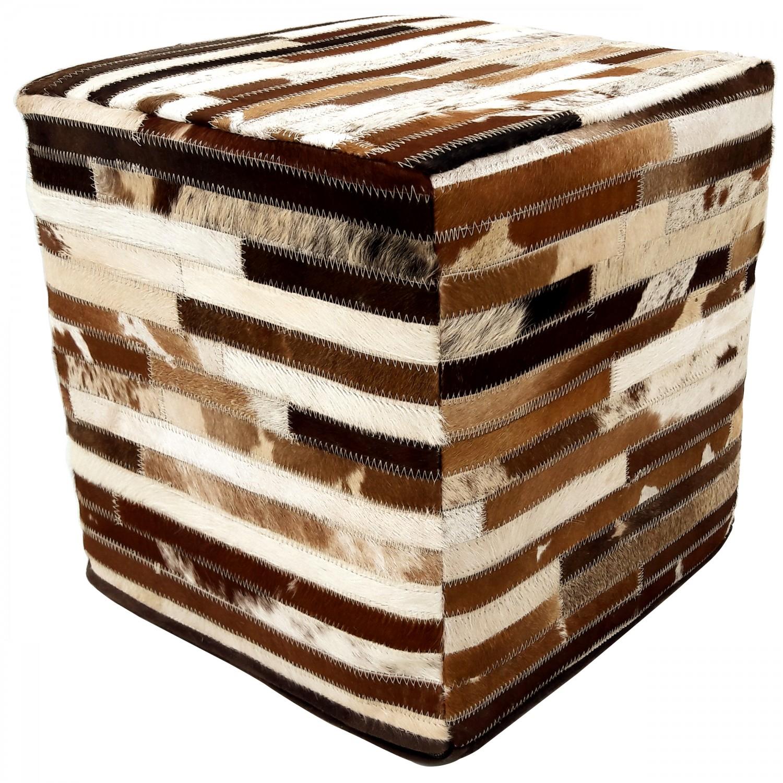 Pour en cuir patchwork marron 40x40cm