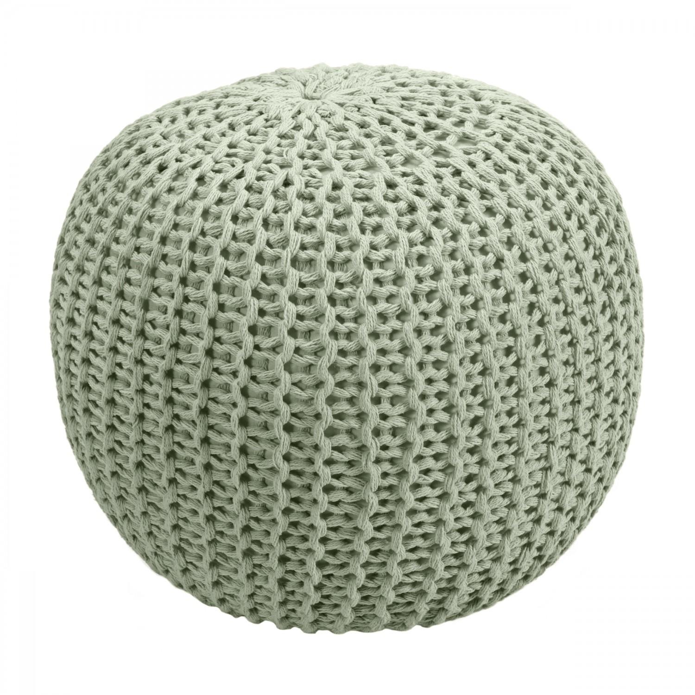 acheter pouf vert clair rond tricot