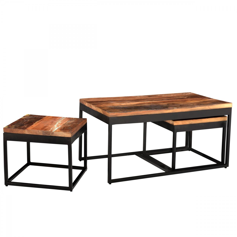 Table Basse Vunipula Gigogne En Bois Et Métal Lot De 3 Tables
