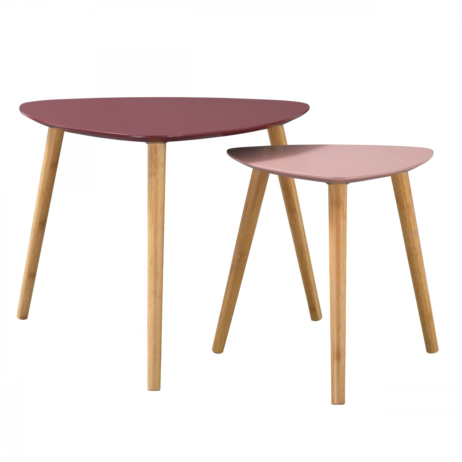 Table basse Anja bicolore rose (Lot de 2)