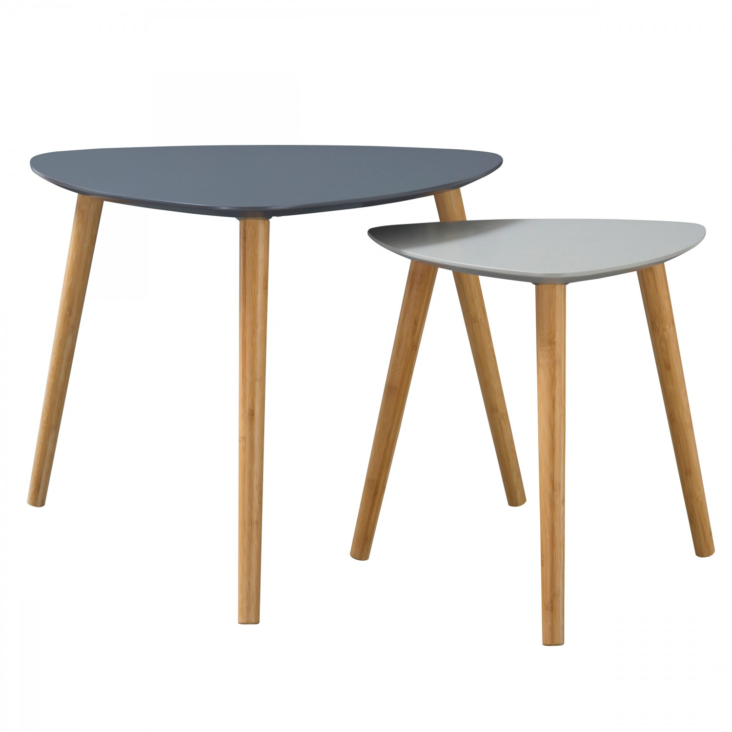 Table basse Anja bicolore grise (Lot de 2)