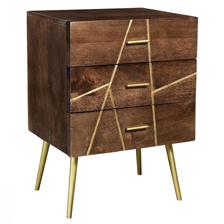 Table de chevet Chandani en bois 3 tiroirs