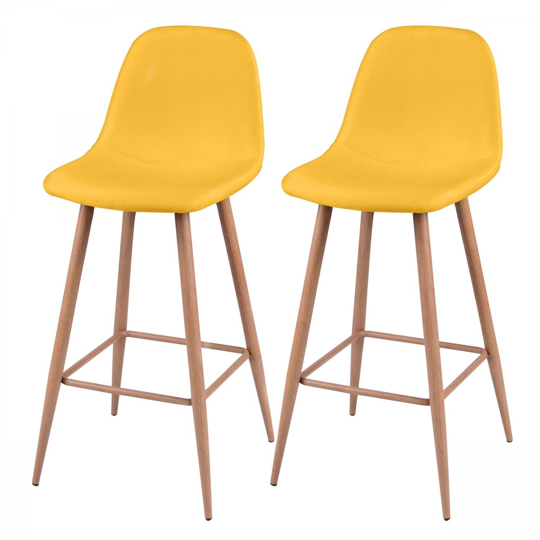 Tabouret de bar olga jaune lot de 2 koya design - Tabouret de cuisine design jaune ...