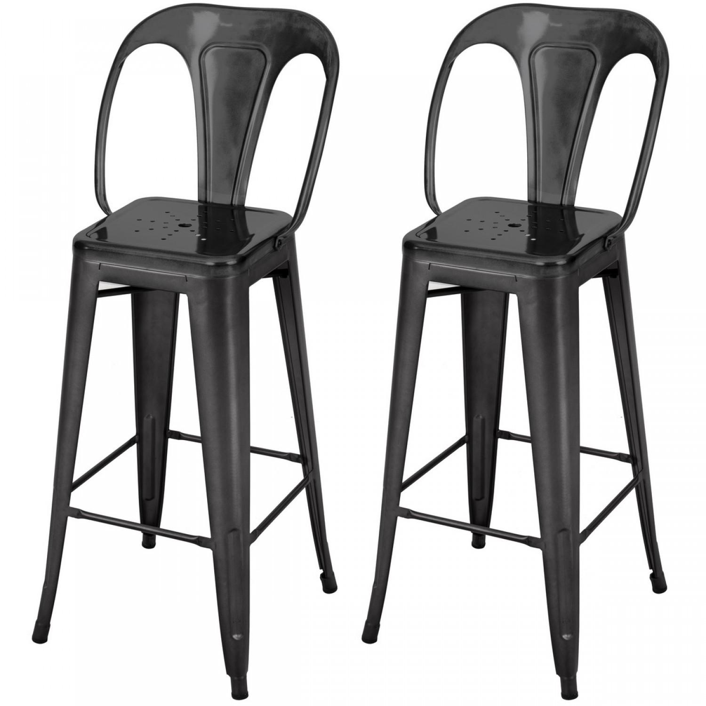 tabouret de bar h 66 cm en m tal atelier gris anthracite lot de 2 koya design. Black Bedroom Furniture Sets. Home Design Ideas