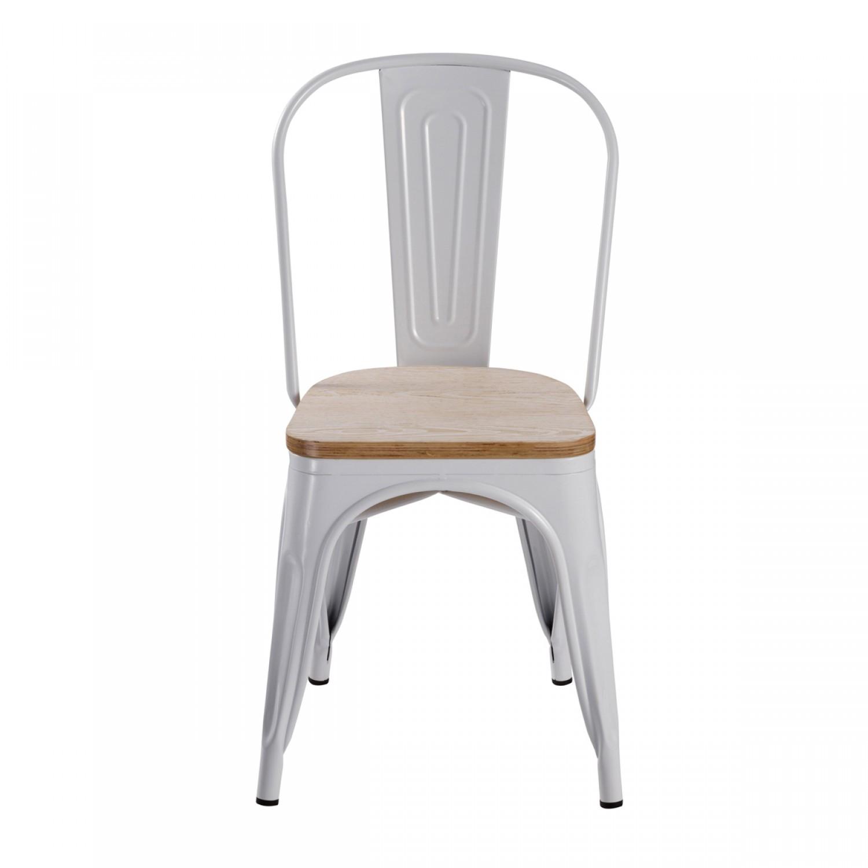 chaise factory blanche et bois lot de 2 koya design. Black Bedroom Furniture Sets. Home Design Ideas