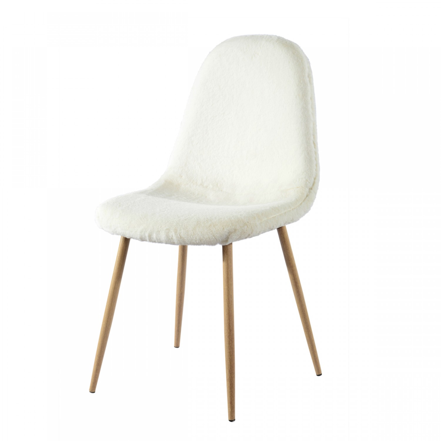 Chaise moumoute blanche lot de 2 koya design for Chaise cuisine blanche